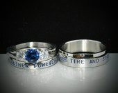 3 piece Wedding Set,Hand stamped Stainless Steel & CZ Sapphire couples ring set,Together forever through time and space! Inside engraving