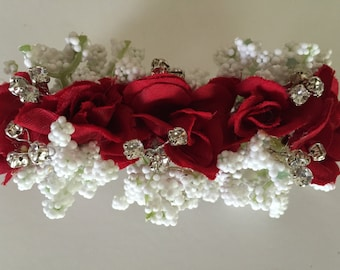 Red Hair Barrette, Prom Hair Accessory