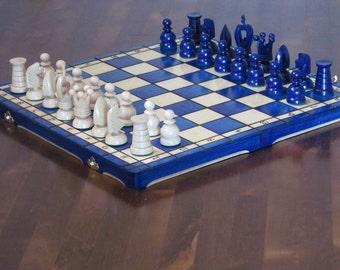 Brand New  Hand Crafted Blue Royal Wooden Chess Set 44cm x 44cm