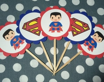 Superman Cupcake Topper - Superman Cupcake Pick - Dessert Table - Photo Prop - Superman Birthday - Superman Baby Shower - Comic Book
