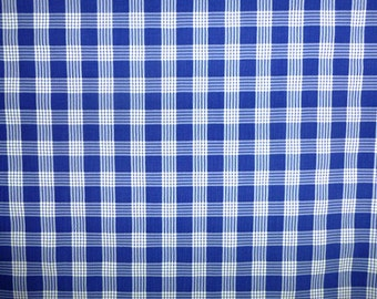Royal blue on white viscose check pattern gingham fabric