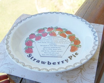 Porcelain Strawberry Pie Plate Recipe Vintage