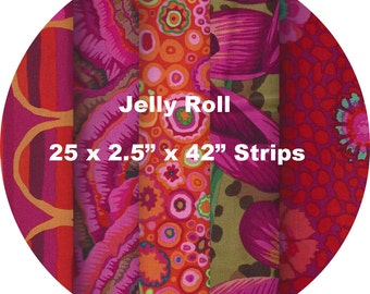 "Quilters Jelly Roll 2.5"" X 44"" (6.5cm x 110cm) strips x 25 - Kaffe Fassett Collective 2016 - RED #1"