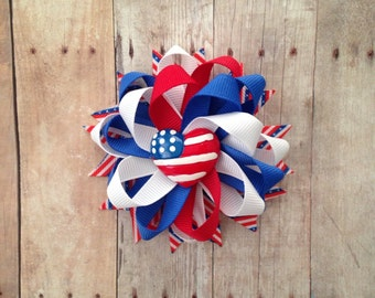 Loopy Flower Bow, Patriotic Bow, 4th of July Hair Bow,