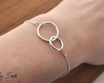 Two Entwined Sterling Silver 925 Bracelet, Eternity Bracelet Silver, Karma Bracelet, Circle Bracelet, Double Circle, Circle Ring, Two Circle