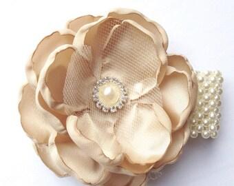 Champange Wrist Corsage ,  Lace Wedding Wrist Corsage , Pearl Lace Corsage