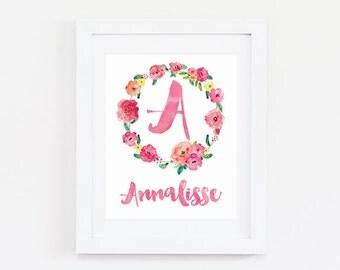 Baby Girl Gift Personalized - Girl Nursery Decor - Nursery Monogram Gift - Personalized Teen Gift - Girl Nursery Art - Girl Nursery Wall Art