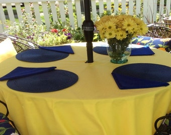 Polyester Patio Umbrella Hole Tablecloth in  rounds, squares ,rectangle ,oval   in 74 colors
