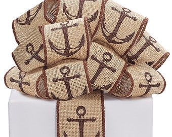 "2.5"" X 10 yds Burlap ANCHOR Wired Edge Ribbon / 9726427"