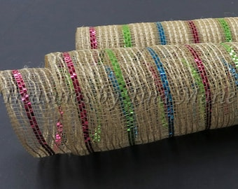 "10""x 10 yds Natural Burlap Mesh w/ Fuchsia Turquoise + Lime thin Metallic Stripes/ XB95410-39"