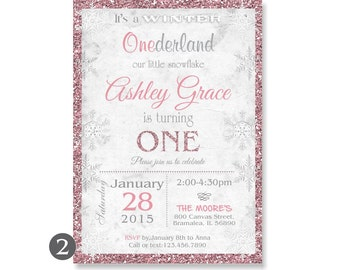 Winter Onederland Invitation, Winter Wonderland First Birthday, Snowflake Birthday Invite,Printable Winter Onederland Invitation Glitter 113