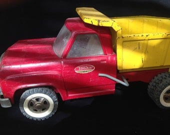 Vintage Tonka Pressed Steel Dump Truck Red and Yellow (1960's)