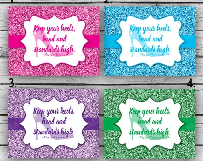 HEELS - Keep your heels, head and standards high Note Card Set, MARILYN MONROE, Stationery, Motivational Cards