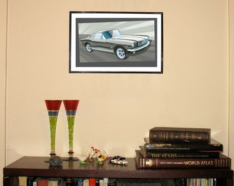 """1965 Ford Mustang Fastback 11""""w x 17""""h Print"""