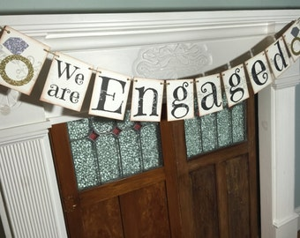 Engagement Banner, Engaged Banner, Engagement Bunting, Bridal Shower Banner, Save the Date Photo Prop