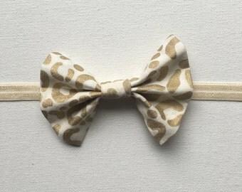Baby bow headband gold leopard bow