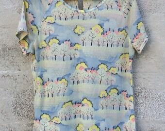 Vintage 70s short sleeve boho shirt, pastel trees and sky, Catalina Sportswear, Size L