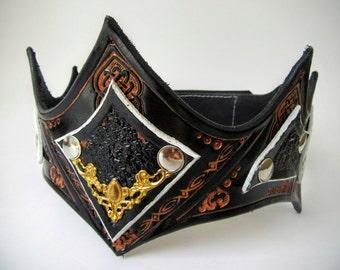 Leather Crown Headpiece | LARP Cosplay Warrior Black White Priestess Headpiece Medieval Leather Crown Renaissance Leather Crown King Crown
