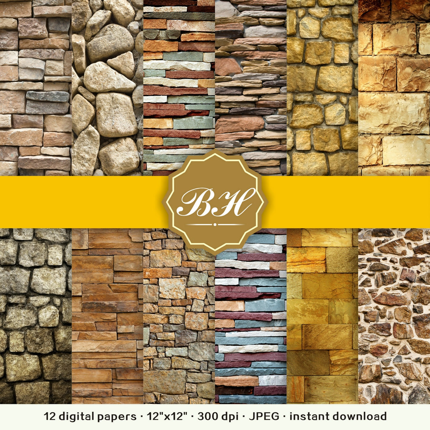 Paper Stone Walls : Wall digital paper stone rustic