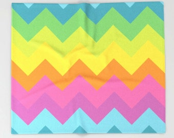 Rainbow Chevron Blanket, Rainbow Bedding, Rainbow Throw Blanket, Rainbow Fleece Blanket, Rainbow Baby Blanket