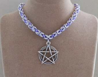 Necklace, Chainmaille, Supernatural inspired, Pentagram Charm Pendant, Byzantine Weave Chain in Purple and Silver
