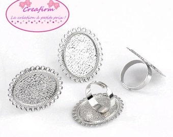 10 rings matte edges round hollow silver
