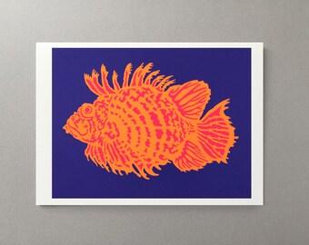 Lionfish - Greeting card - 5x7, holiday card, gift, decoration, fish, animal, sea