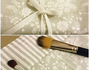 Make up brush roll with ribbon