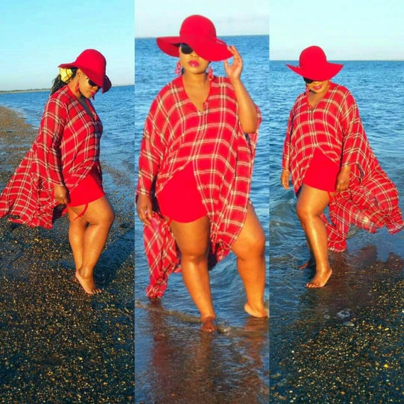 Gorgeous   tartan check  chiffon  fabric  swimsuit coverup beach wear kaftan dress in reds