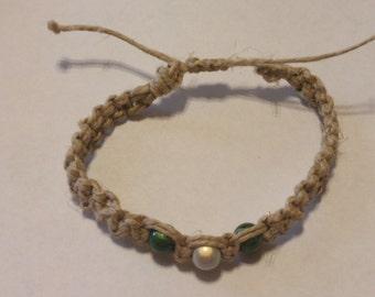 Green and White beaded Hemp Bracelet