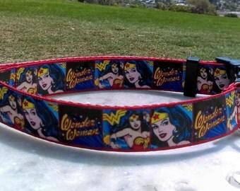 "Wonder Woman Adjustable and Customizable 1"" Dog Collar"