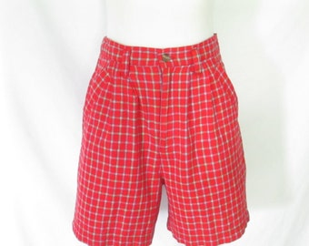 Palmetto's High Waist Plaid Shorts Vintage 90's Pleated Shorts Red Plaid Cotton Shorts 90's Palmetto's Clothing
