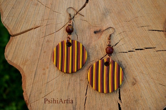 Polymer clay earrings Polymer clay jewelry Polymer clay creations Stripe earrings Colorful earrings Autumn earrings Autumn jewelry Circles