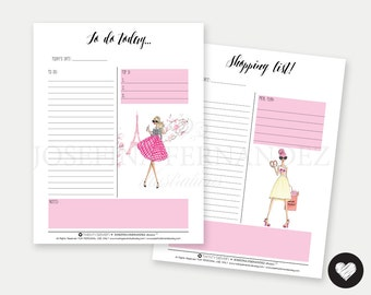 "Two ""Fashion Girls"" Letter size Printable Planner Inserts, Printable To Do and Shopping lists with Fashion Illustrations, 8.5""x11"" inserts"