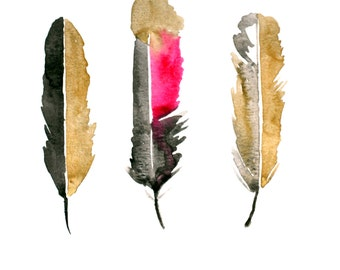 gold black and pink watercolor feather Art, digital download, gold feathers, watercolor feathers, watercolor, feather art, gold and black