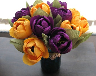 Yellow purple paper tulips bridal bouquet, Crepe paper flower bouquet, Paper bouquet, Anniversary gift crepe paper flower, Purple flowers