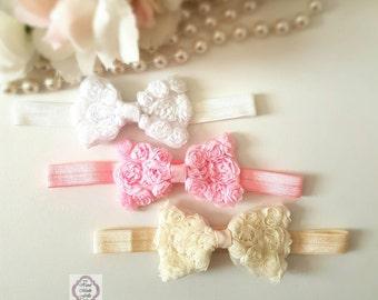 Baby headband, Pink Rose Headband, White Baby Headband, Ivory Baby Headband, Rose Hairband Tuxedo baby headband, Newborn headband set,