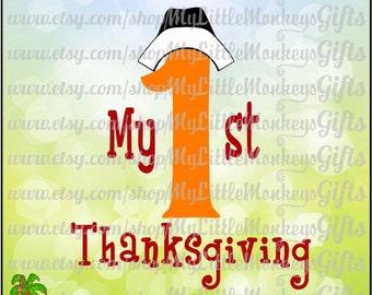 My 1st Thanksgiving Pilgrim Bonnet Design Digital Cut File & Clipart Instant Download SVG, DXF, EPS, Full Color 300 dpi Jpg, Png