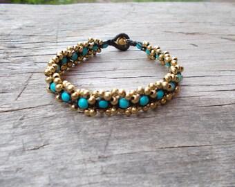 Fancy Jasper Bead Wrap Bracelet - Fancy Jasper Brass Beaded Boho Simple Bracelet