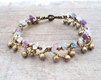 fluorite woven wrap beads anklets, hippie anklet,beach anklets