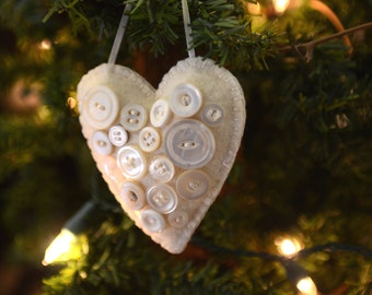 Heart Shaped Ornament with Vintage Buttons