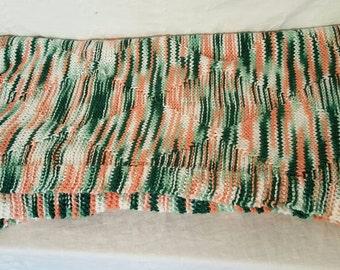 Crochet Afghan Orange and Green ,Pastel Orange and Mint,Vintage Knit Blanket,Hand Crochet Bed Linen,Handmade Afghan, Unique Afghan Style