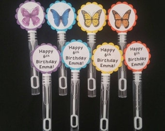 8 Personalized Butterfly Bubble Wands. 2 sided!! Birthday Party Favor Bubbles. Spring Party.