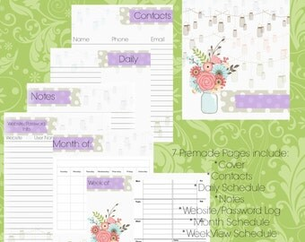 Printable Daily Weekly and Monthly Planner, Planner Pages Pack, Mason Jar Flower Design