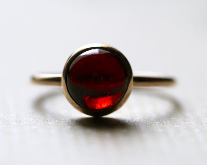 Garnet Gold Ring Natural Stone May Birthstone Simple Wedding Minimalist Dainty Engagement Gemstone Jewelry Stacking Yellow Solid Gold Ring