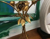 Vintage gold gilt roses glass top  Side table made in Italy