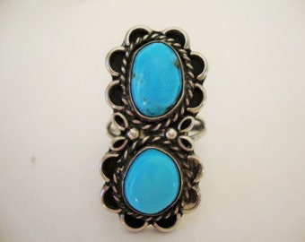 Turquoise Sterling Silver Ring Statement Ring  Size 10 1/2 Vintage