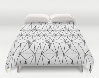 Black White Geometric Duvet Cover Black White Abstract Duvet Cover Black White Art Deco Full Duvet Cover Queen Duvet Cover King Duvet