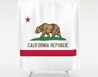 California State Flag Shower Curtain Flag Shower Curtain State Flag Shower Curtain Golden State Shower Curtain Red White Green Bear