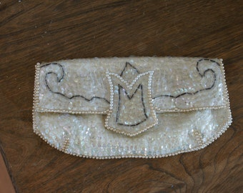 Ivory & Champagne Sequin and Beaded 1950's Small Vintage Clutch Made in Japan of American Sequins BT-362
